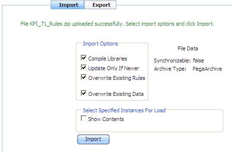 Import Options for uploading KPI_71_Rules.zip