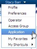 Profile menu > Application