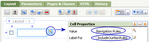 Cell Properties for the checkbox's label
