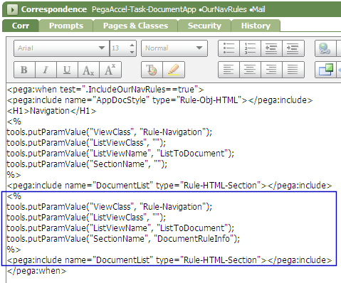 Code in OurNavRules correspondence rule to use the new DocumentUsage section