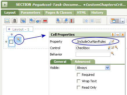 Cell Properties for the checkbox