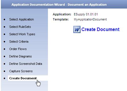 Create Document wizard tab
