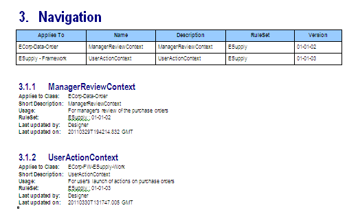Output document with the detailed information about the ManagerReviewContext navigation rule