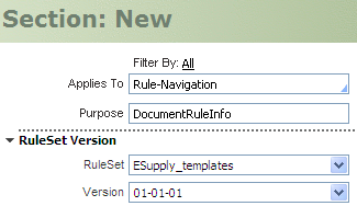New section rule dialog for DocumentUsage section