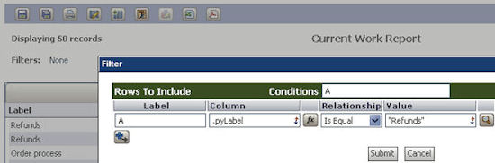 form to set filters