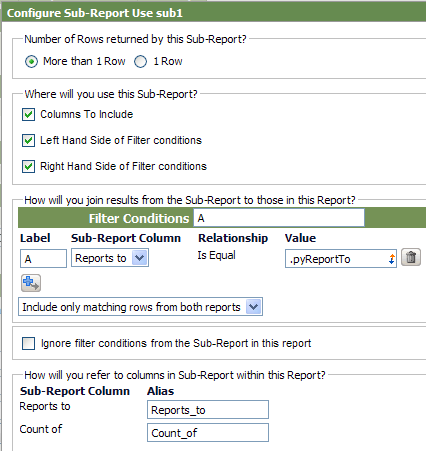 configure sub-report form
