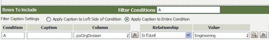 subreport filter
