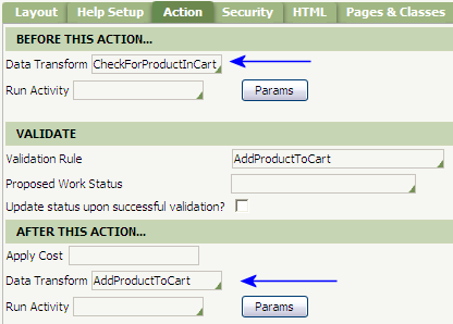 Data transform rules specified in AddProductToCart flow action