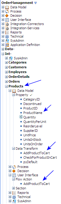 OrderManagement-Int-Products class in the Application Explorer