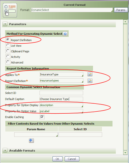 How to configure a Dynamic Select Control using a Report Definition