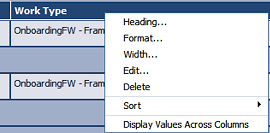 context menu for editor columns