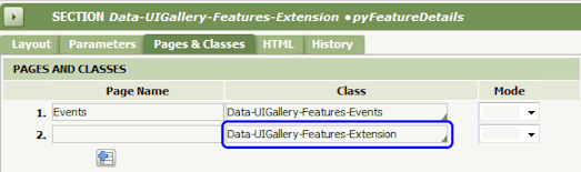 Add Extensions to Pages & Classes tab