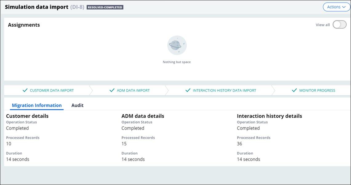 Successful migration data import
