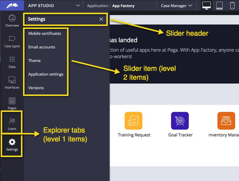 Sliders and Explorer tabs