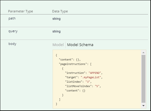 Model Schema section with page instructions