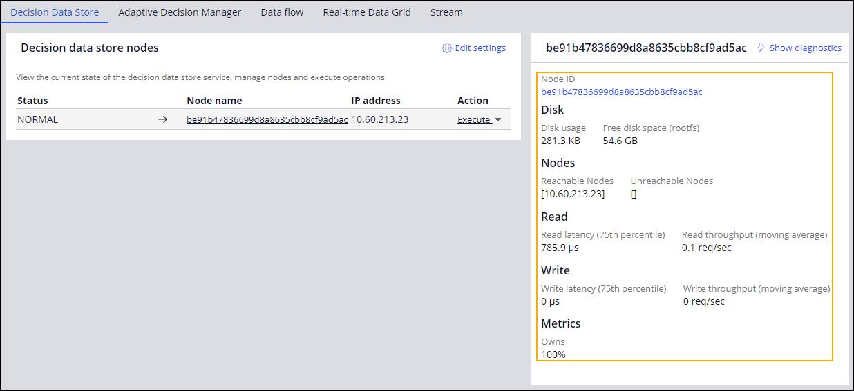 Decision Data Store node details