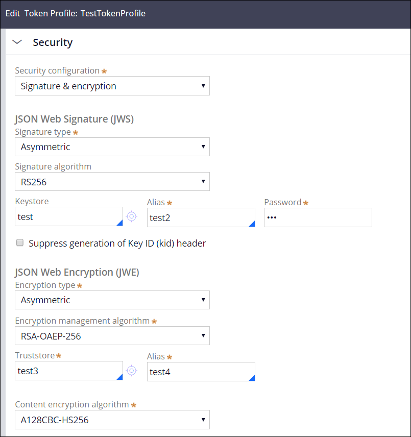 Token profile example with new fields for signature and encryption enhancements