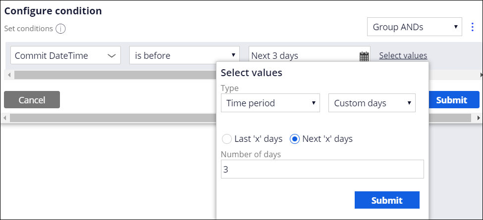 Configuration of a Commit DateTime value