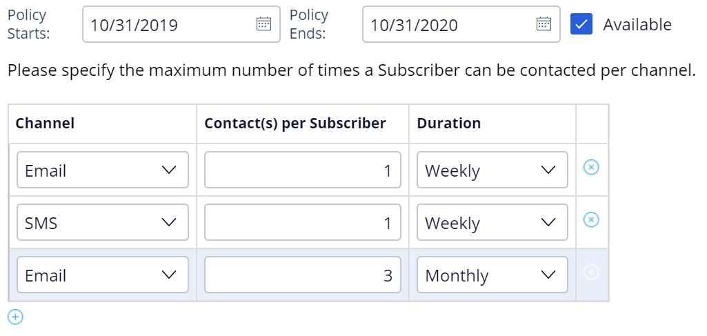 """""""Sample contact policy for Next-Best-Action Designer"""""""