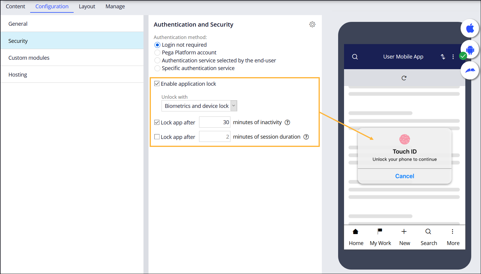 Authentication and locking settings