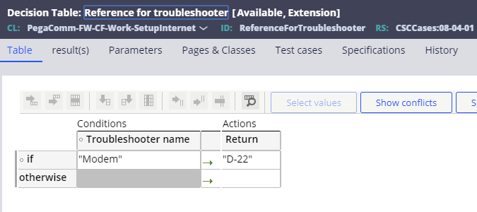 Decision table: reference for troubleshooter