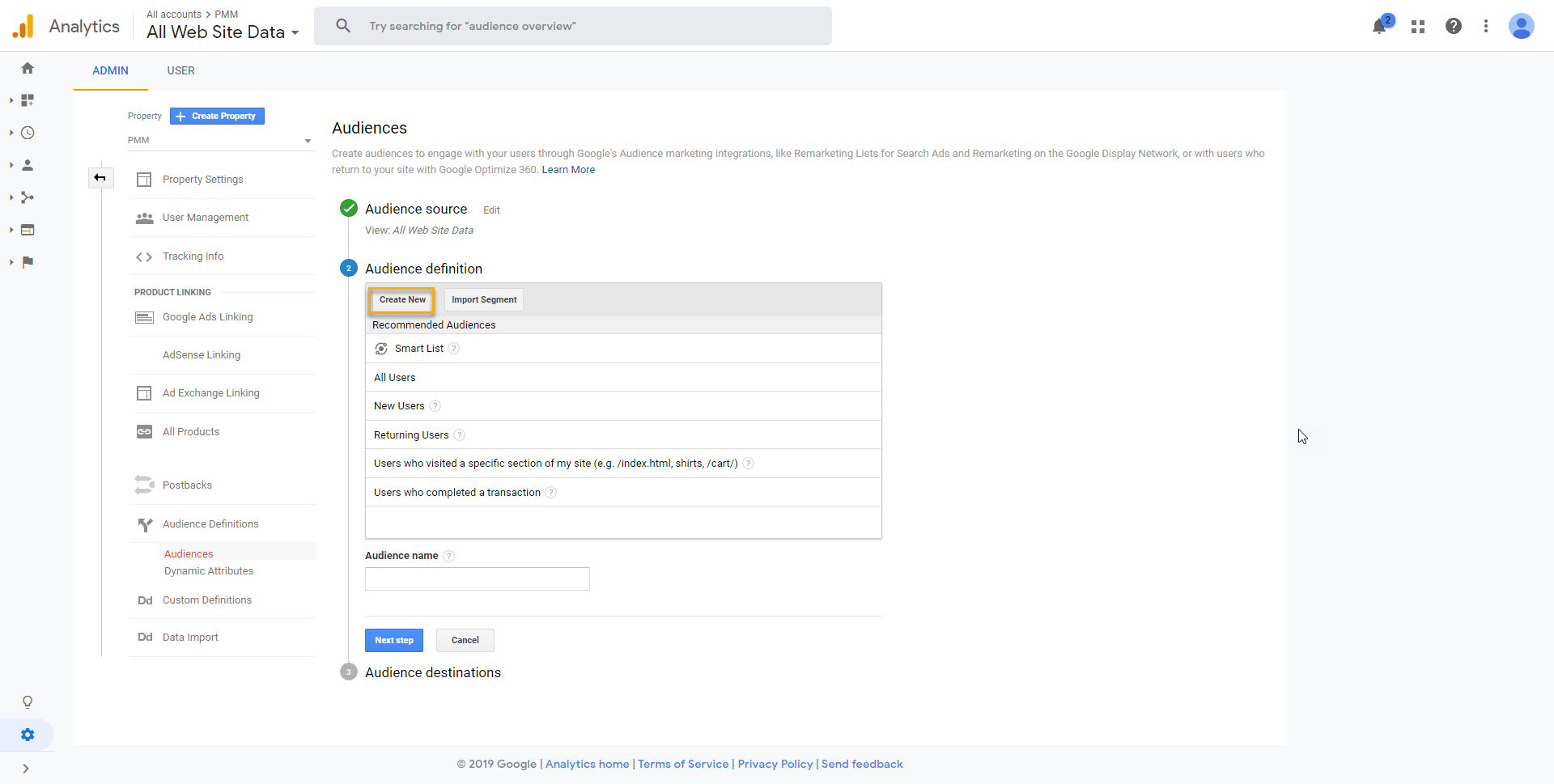 """Create a new audience in Google Analytics"""