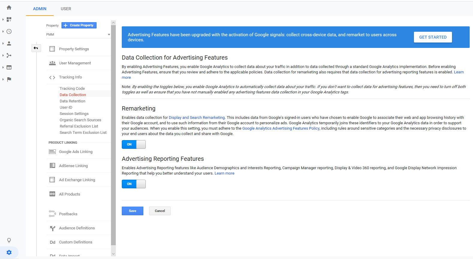 """Data Collection page in Google Analytics"""