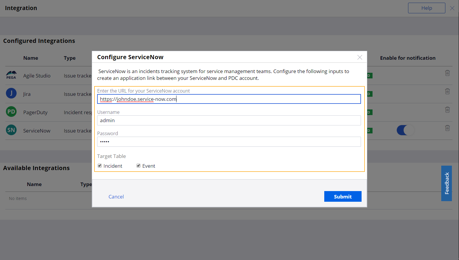 """Configure ServiceNow window with an example configuration of ServiceNow integration"""