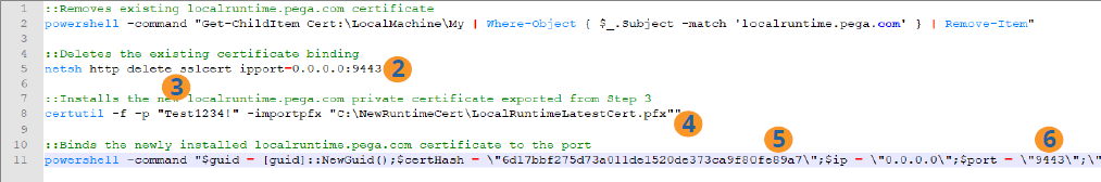 Excerpt from sample batch file script for installing local Robot Runtime certificates