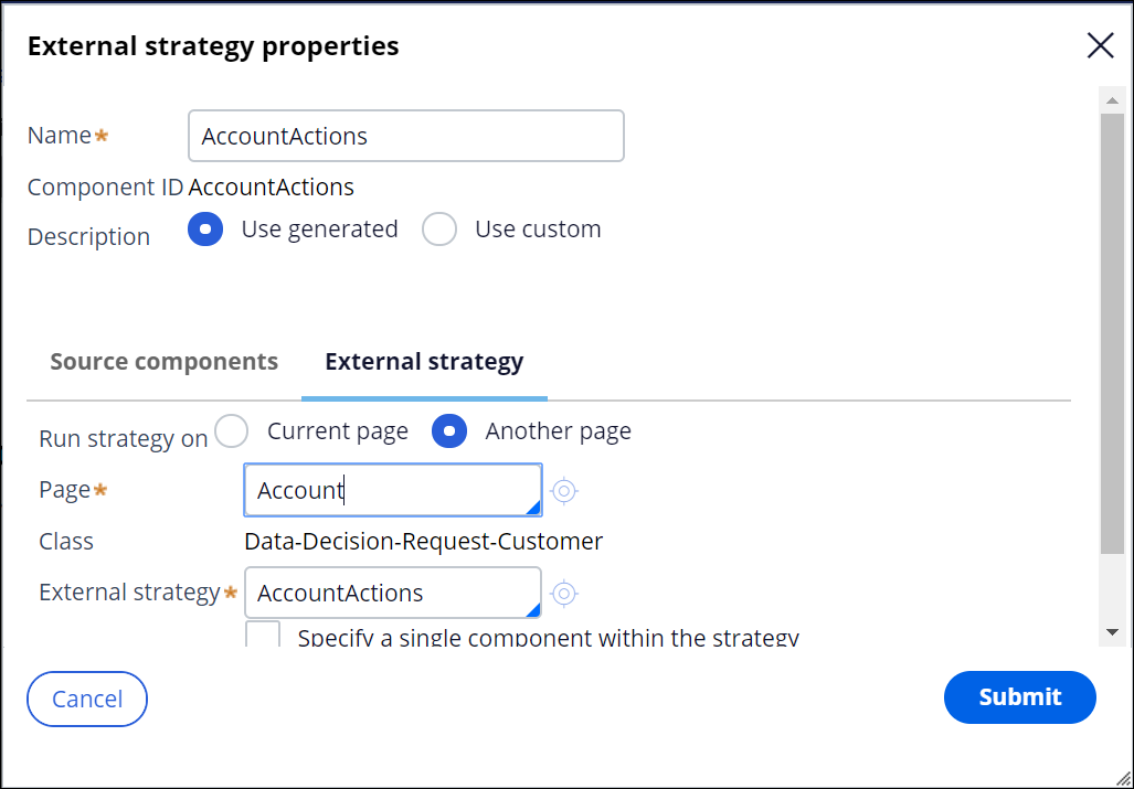 """Using an External Sub-Strategy component to reference an existing strategy"""