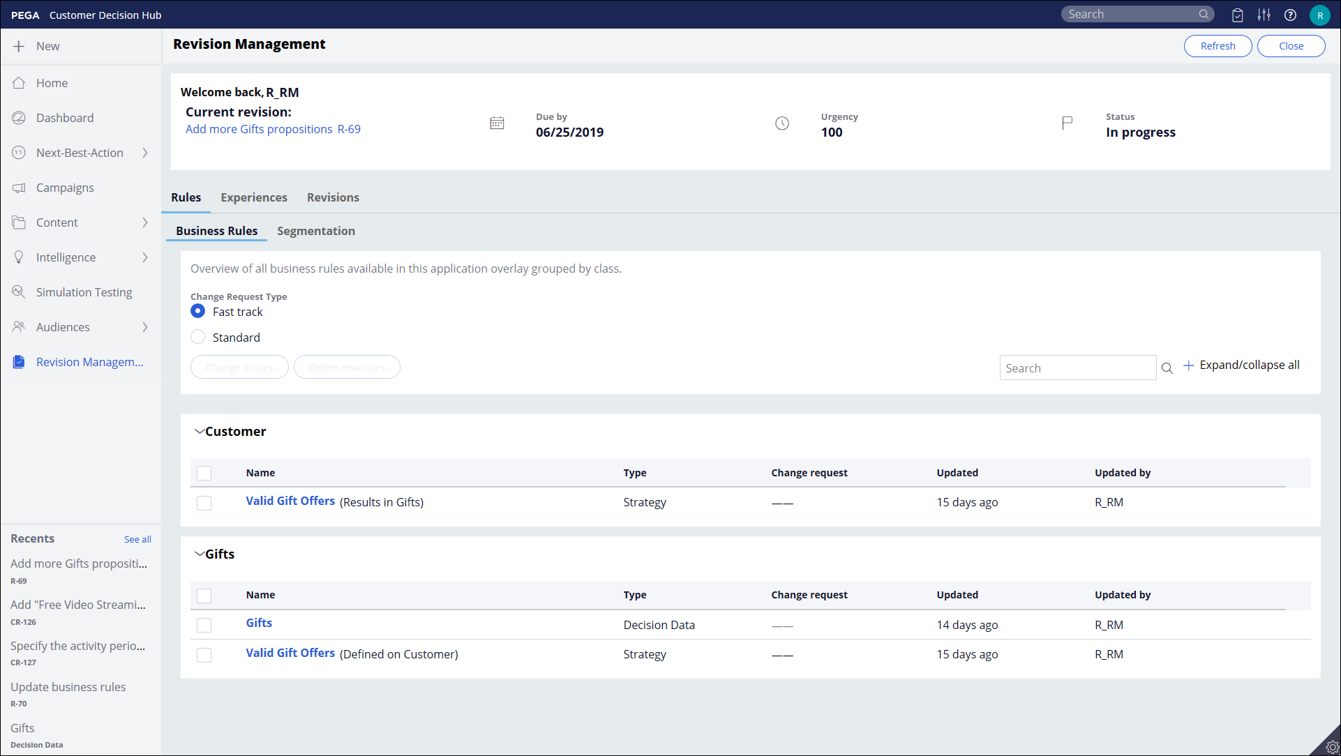Screen capture of the Revision Management landing page in the Pega Customer Decision Hub portal