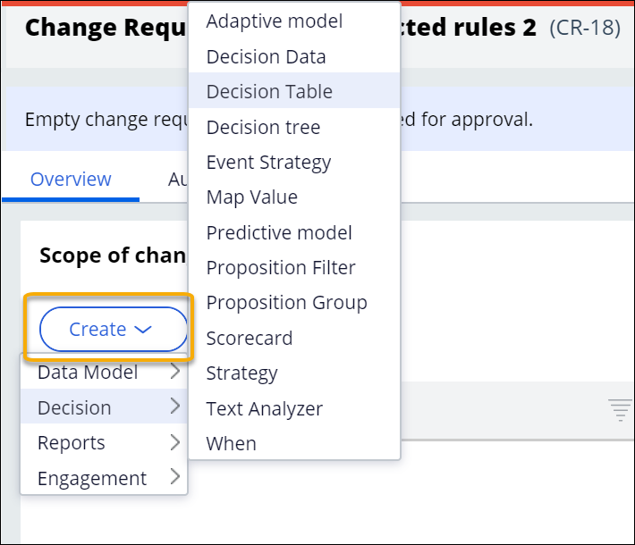 """Selecting the rule type to create as part of the change request"""
