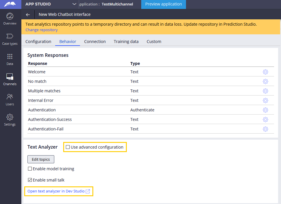 Text analyzer configuration in App Studio with a link to edit the text analyzer rule in Dev Studio