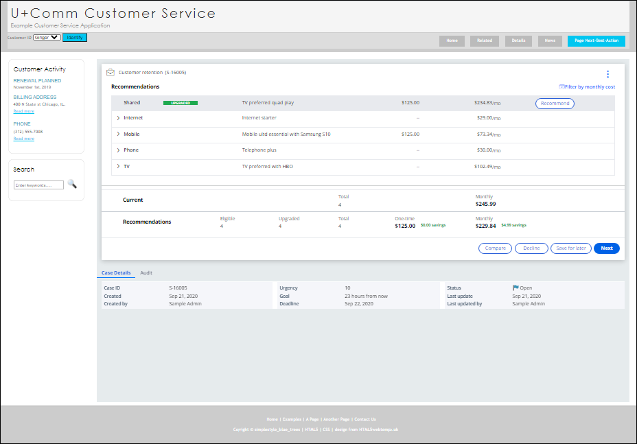 """""""A screenshot that shows an example of Pega Next-Best-Action Advisor embedded into a customer service portal"""""""