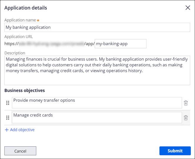 Application details dialog box with sample information provided