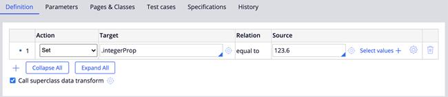 """""""Data Transform definition Action sets Target .integerProp equal to source value 123.6."""""""
