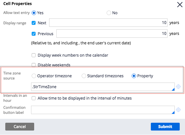 """""""Navigate to Cell Properties > Time zone source. Choose the required option."""""""