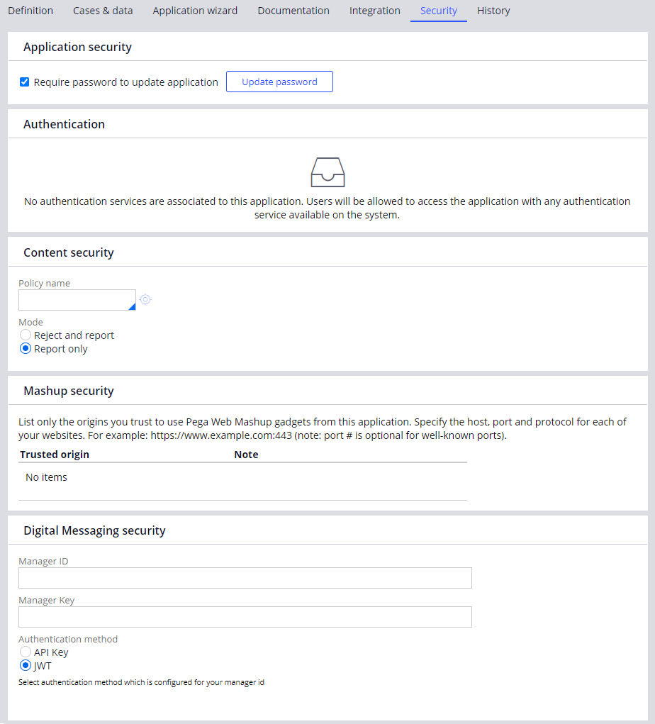 The new Security Tab of the Application Definition