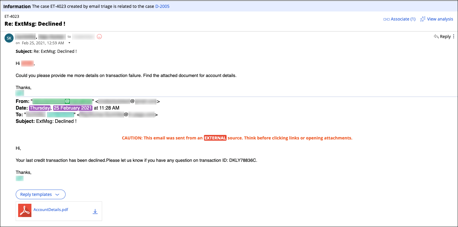 A triage case thread with customer response to an automated notification email about a transaction failure