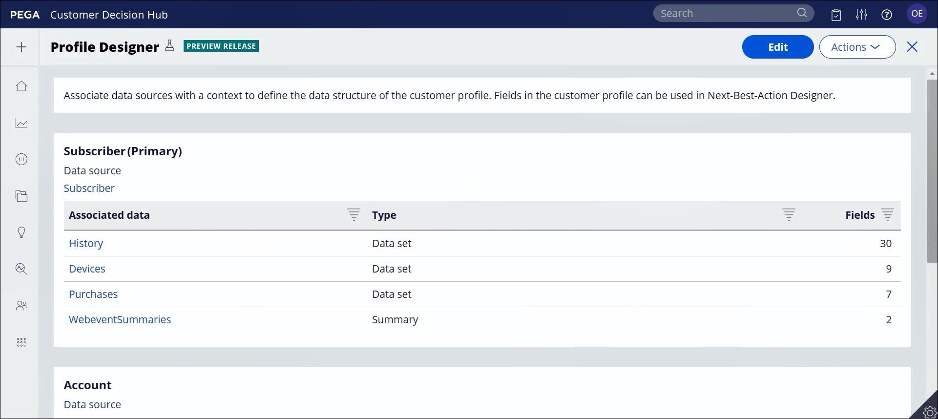 Customer Profile Designer view