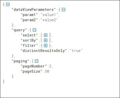 Sample JSON for retrieving data with pagination