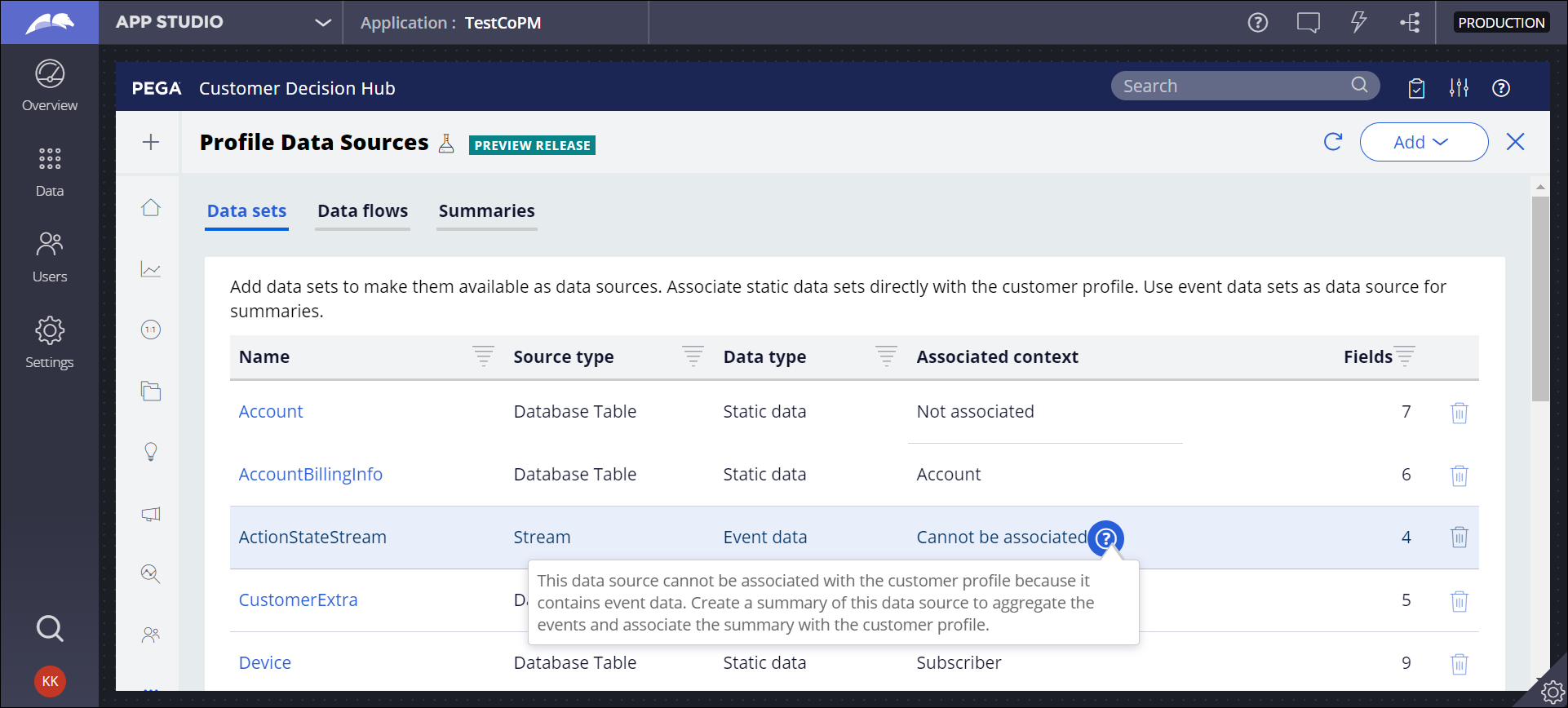 Customer Profile Designer prompts the user to create a summary for event data