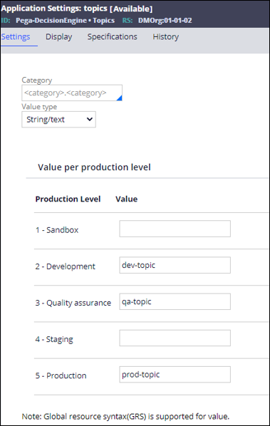 Application Settings for Kafka data set