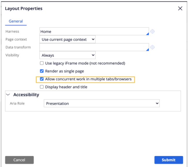 Layout Properties for a harness is set to use current page context with Allow Concurrent Work in Multiple Tabs and Browser Windows.