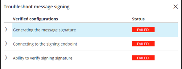 Troubleshooting message signing in PDC