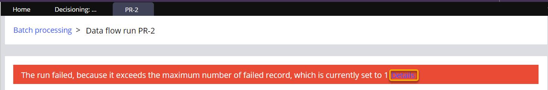 A data flow error message