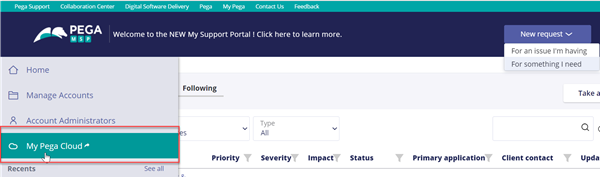 Click the Cloud icon from the left-hand navigation pane of My Support Portal to open My Pega Cloud.