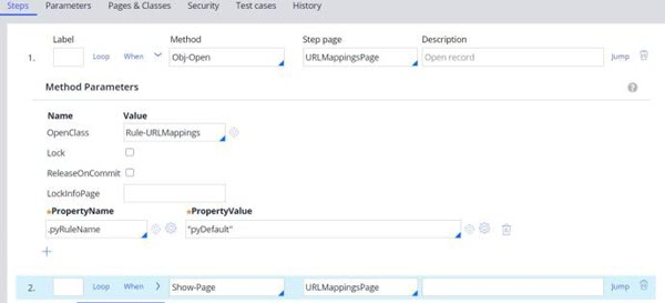 Select Obj-Open for Method and URLMappingsPage for Step page. Enter Show-Page for the When input field with URLMappingsPage for Step page.