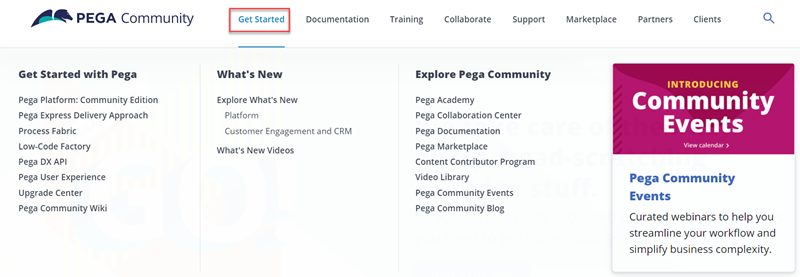 The Get Started tab on Pega Community shows the different features and content for you to explore.