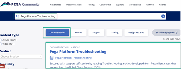 """Type the keywords """"Pega Platform Troubleshooting"""" into the Search field."""